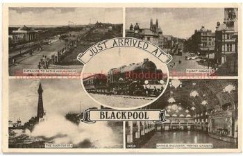 Lancashire: 'Just Arrived At Blackpool' Circa 1950s Multiview Holiday Greetings Postcard