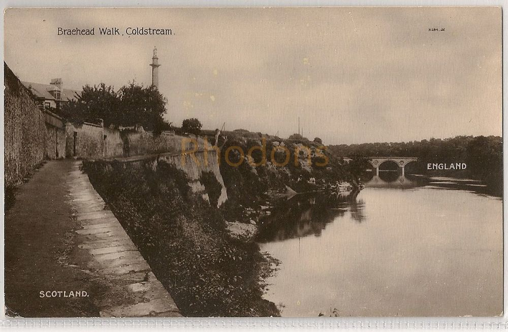 Scotland: Borders, Braehead Walk, Coldstream, Berwickshire. Circa 1920s Real Photo Postcard