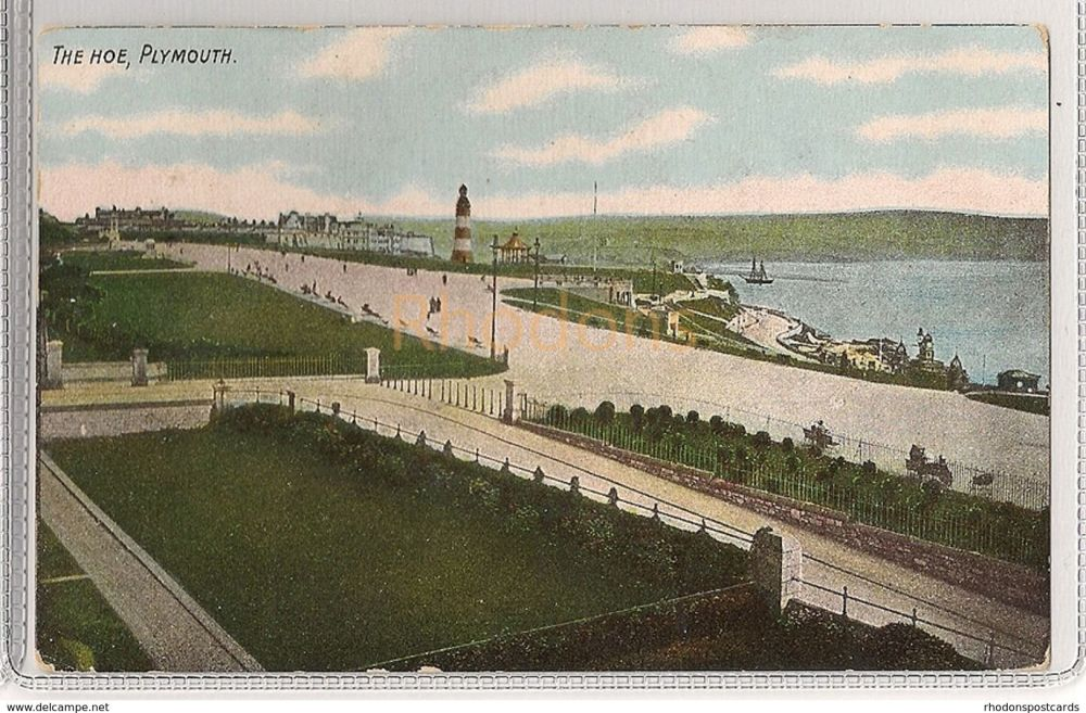 England: Devon. Lighthouse, The Hoe, Plymouth, Devon. Early 1900s Postcard