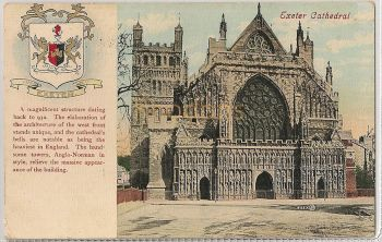 Devon: Cathedral And Coat Of Arms, Exeter. Early 1900s Postcard