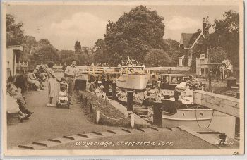 England: Surrey. Weybridge. Shepperton Lock. 1950s Frith Postcard