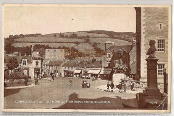 Scotland: Borders. Cornmill Square And War Memorial From Burns Statue, Galashiels