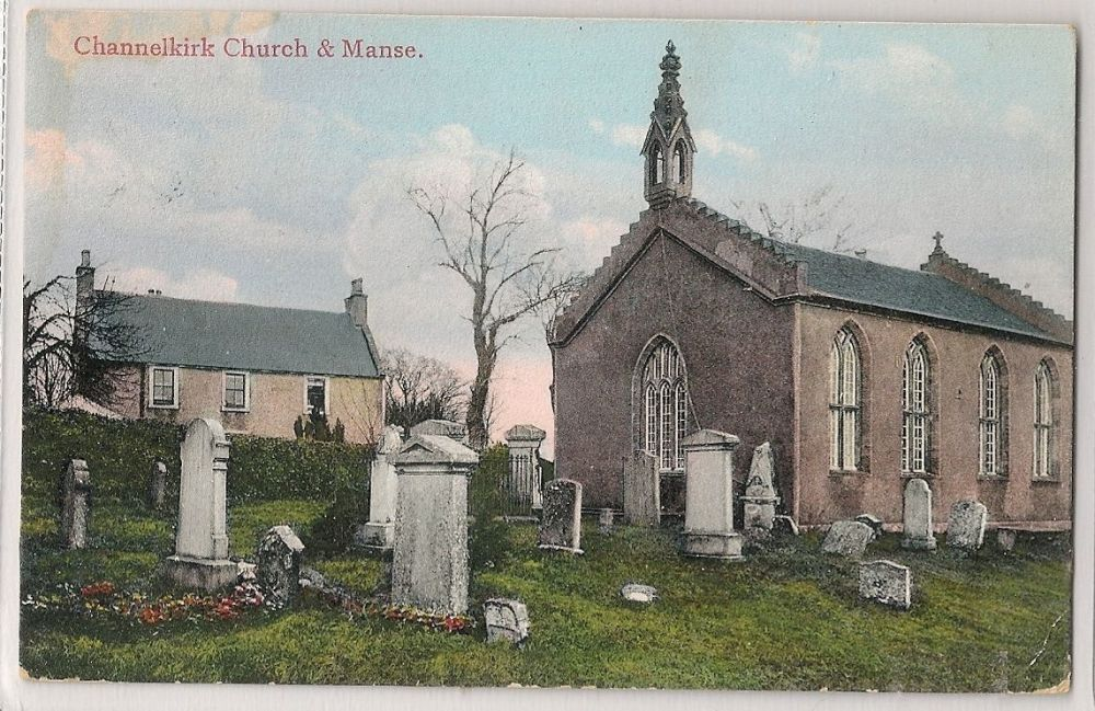 Scotland: Borders. Channelkirk Church & Manse, Oxton. Pre-1914 Postcard.