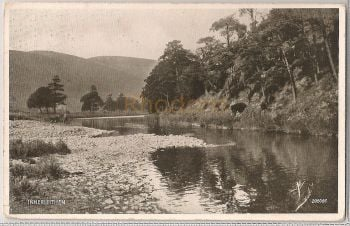 Scotland: Borders. Innerleithen Riverside View. 1930s Photo Postcard