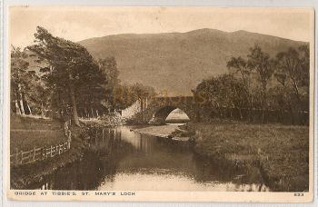 Scotland: Borders. Bridge At Tibbies, St Mary's Loch. 1920s Photo Postcard