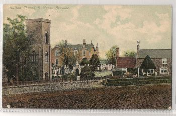 Scotland: Borders, Hutton Church & Manse, Berwick. Early 1900s Postcard. | Recipient Family Name: Moor