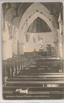 Scotland: Borders, Longformacus, Interior Of Parish Church. Early 1900s Postcard. | Recipient Family Name: Watson