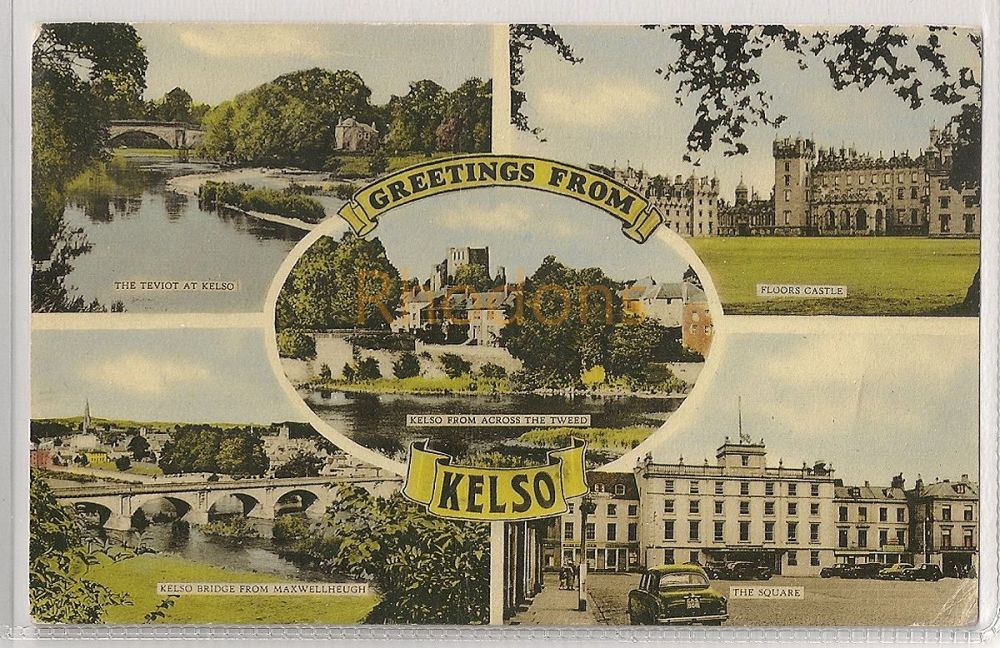 Scotland: Borders. Greetings From Kelso, Roxburghshire. 1950s Multiview Postcard.   Recipient Family Name: Bland