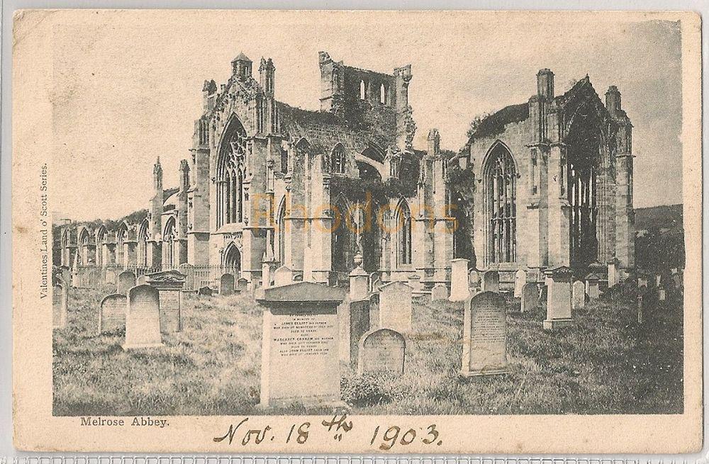 Scotland: Borders. Melrose Abbey. Early 1900s Valentines Land O' Scott Seri