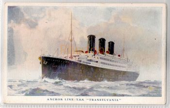 Anchor Line - T.S.S Transylvania Colour Printed Postcard