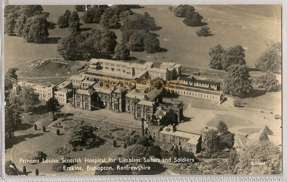 Scotland: Renfrewshire. Princess Louise Hospital For Limbless Sailors & Soldiers, Erskine, Bishopton. 1960s Aerial RPPC | Recipient Family Name: Guthr