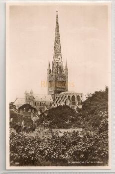 England: Norfolk. Norwich Cathedral. Real Photo Postcard