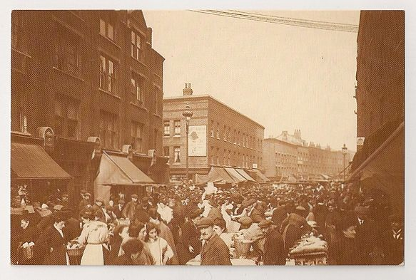 London: Petticoat Lane Street View, 1912. Nostalgia Reproduction Postcard