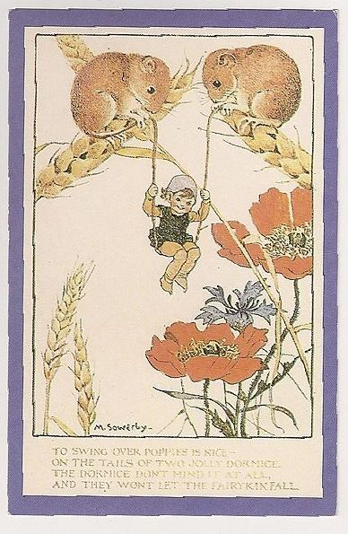 To Swing Over Poppies By Millicent Sowerby c1920. Nostalgia Reproduction Postcard
