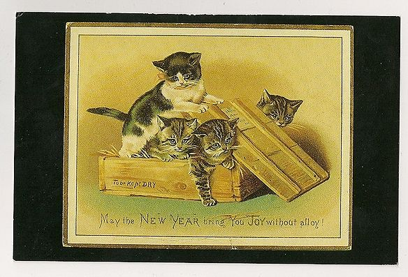 New Year Sentiments, Edwardian Greetings Card. Nostalgia Reproduction Postcard