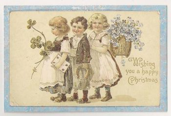 Victorian Christmas Greetings Card c1890. Nostalgia Reproduction Postcard