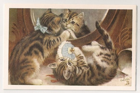 Cats and Kittens, 'Preparing For The Party', 1917. Nostalgia Reproduction Postcard