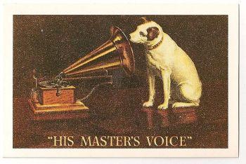 His Masters Voice, HMV, Trademark, 1951. Nostalgia Reproduction Postcard