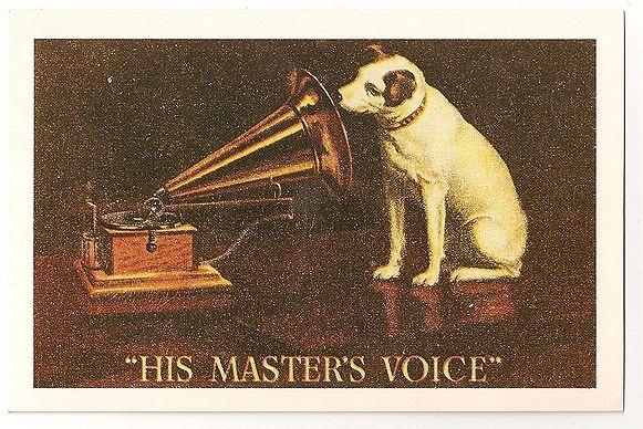 His Masters Voice, HMV, Trademark, 1951. Nostalgia Reproduction Postcard