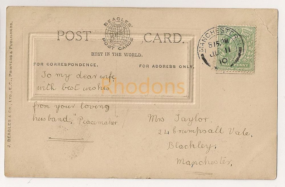 Family History Postcard:  TAYLOR - Manchester - 1910 | Birthday Greetings
