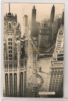USA: Illinois. Michigan Blvd From Atop The Medinah Athletic Club, Chicago. Circa 1930s Real Photo Postcard