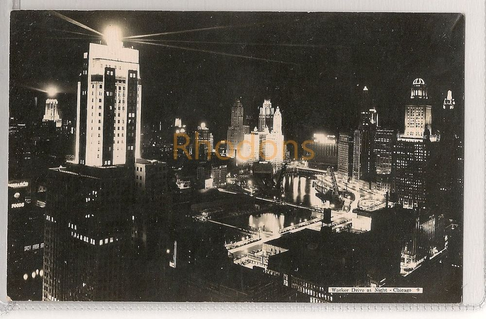 USA: Illinois. Wacker Drive At Night, Chicago. Circa 1930s Real Photo Postcard