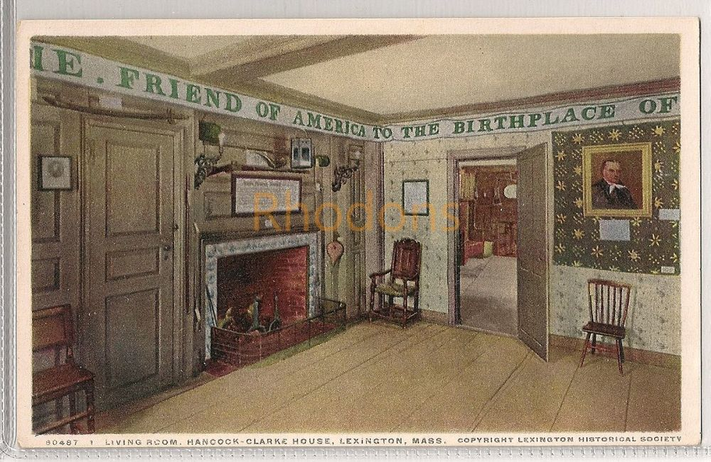 USA: Massachusetts. Living Room, Hancock-Clarke House, Lexington, MA. Early 1900s Postcard