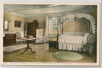 USA: Massachusetts. The Great Chamber In The House Of The Seven Gables, Salem, MA. Early 1900s Postcard