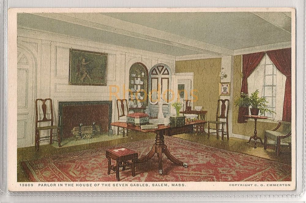 USA: Massachusetts. The Parlor In The House Of The Seven Gables, Salem, MA. Early 1900s Postcard