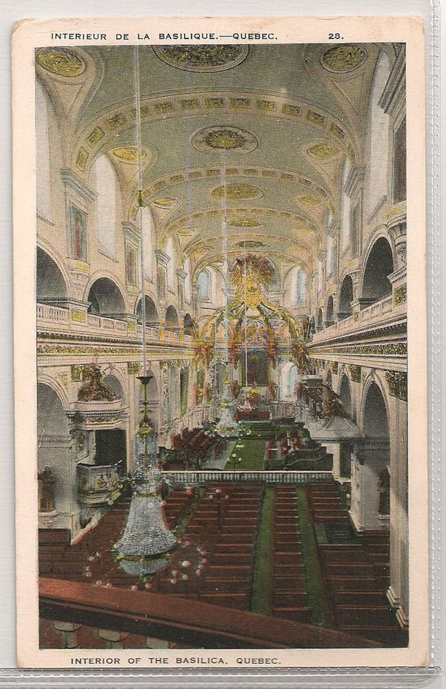 Canada: Quebec. The Basilica, Interior View. Early 1900s Postcard