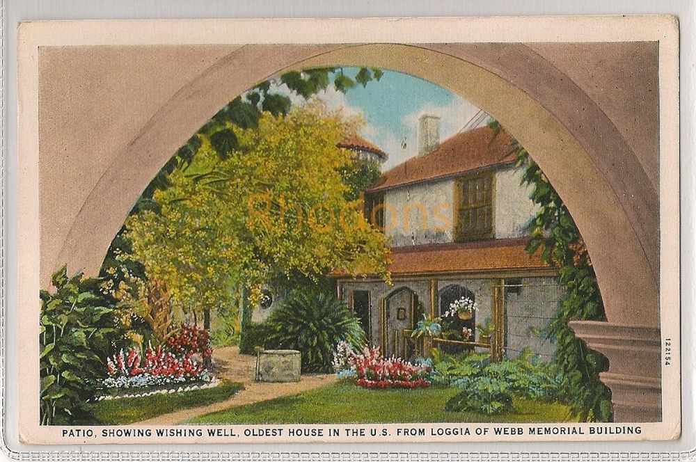 USA: Florida. Patio, Oldest House in the United States from Loggia of Webb Memorial Building. Vintage Postcard