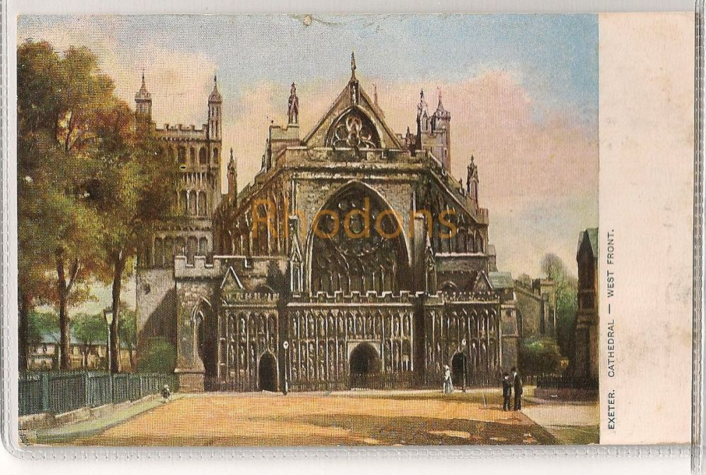 England: Devon. Exeter Cathedral, West Front. Early 1900s Tuck Postcard