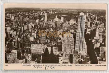 USA: New York. New York City Northern Vista From Empire State Building Observation Tower. Real Photo Postcard.Circa 1930s