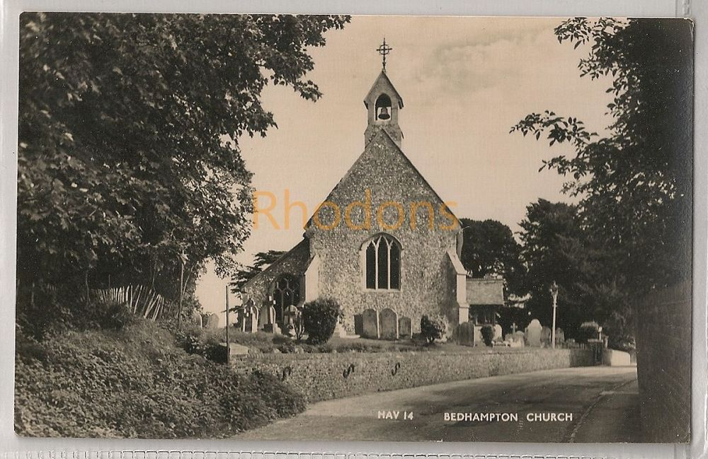 England: Hampshire, Hants. Bedhampton Church, Havant Real Photo Postcard