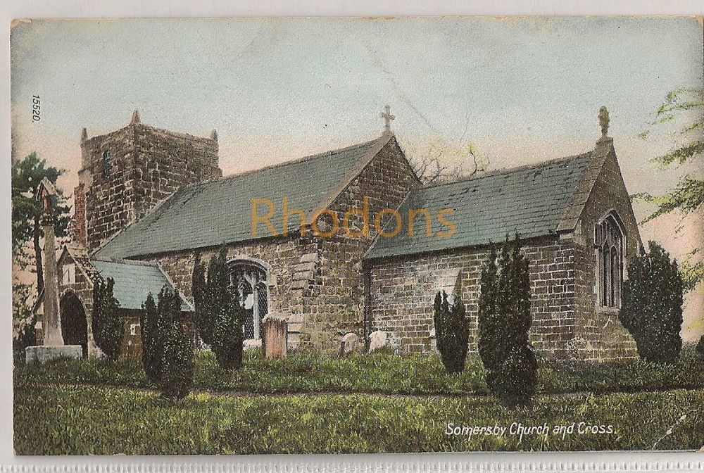 England: Lincolnshire. Somersby Church And Cross, Early 1900s Postcard