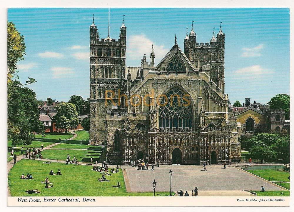 England: Devon. Exeter Cathedral, West Front View. John Hinde Studio Colour Printed Photo Postcard