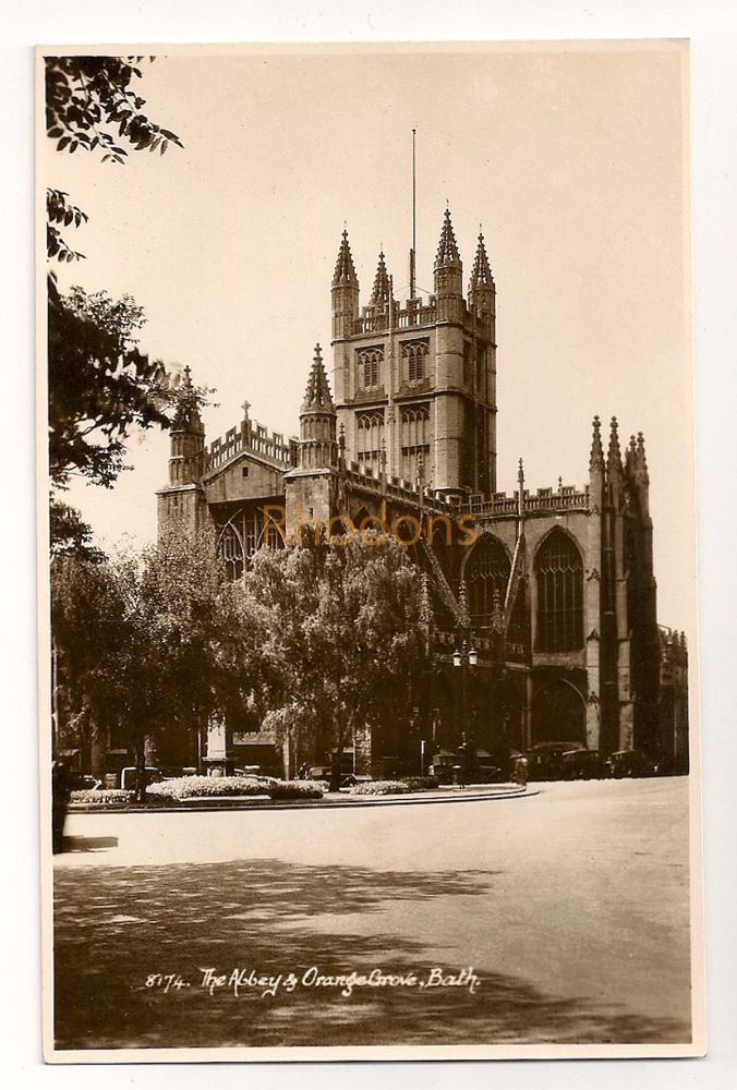 England: Somerset. Bath Abbey and Orange Grove. Real Photo Postcard