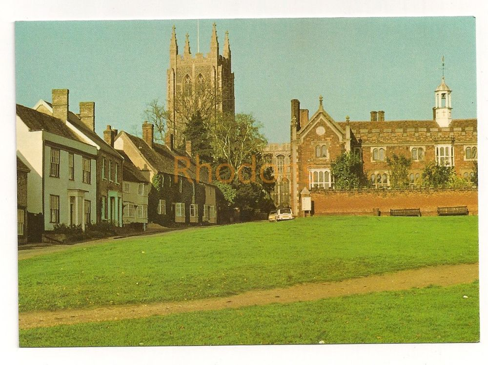England: Suffolk. Long Melford Church, As Seen From The Green. Colour Photo Postcard