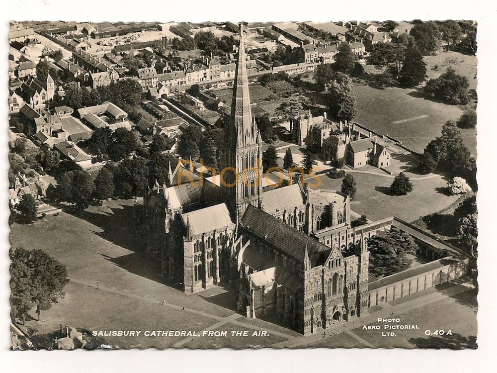 England: Wiltshire. Salisbury Cathedral From The Air. Real Photo Postcard