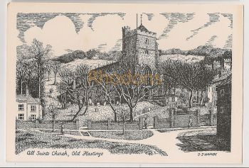 England: Sussex. All Saints Church, Old Hastings. Printed Pen and Ink Drawing Postcard