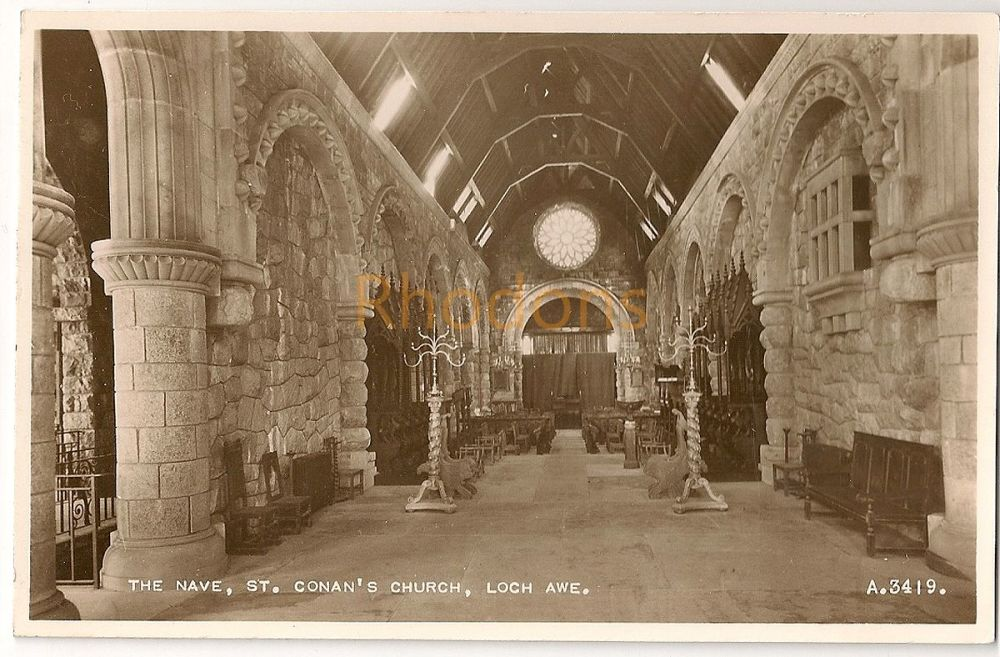 Scotland: Argyll & Bute. The Nave, St Conans Church, Loch Awe Real Photo Postcard