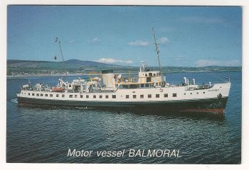 Motor Vessel Balmoral Leaving Port St Mary Isle Of Man. Colour Photo Postcard
