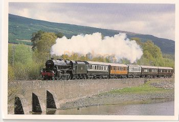 Scotland: Black Five On Loch Eil Side, Fort William To Mallaig Line. Steam Train Colour Photo Postcard