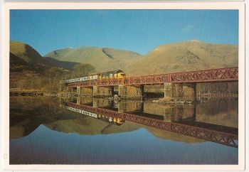 Scotland: Class 37 12CSVT Type Co Co 1960 Locomotive And Train At Loch Awe. Colour Photo Postcard