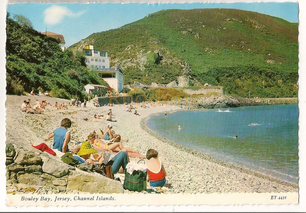 Channel Islands: Jersey. Bouley Bay, 1960s Beach View Colour Photo Postcard