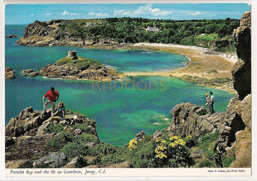Channel Islands: Jersey. Portelet Bay And The Ile au Guerdain. Pre 1970s Colour Photo Postcard