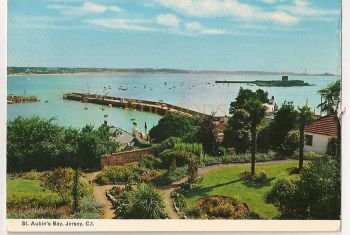 Channel Islands: Jersey. St Aubins Bay, Pre 1970s Colour Photo Postcard