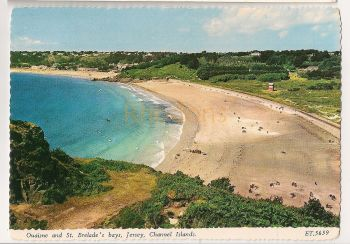 Channel Islands: Jersey. Ouaisne And St Brelades Bays, Bamforth Colour Photo Postcard