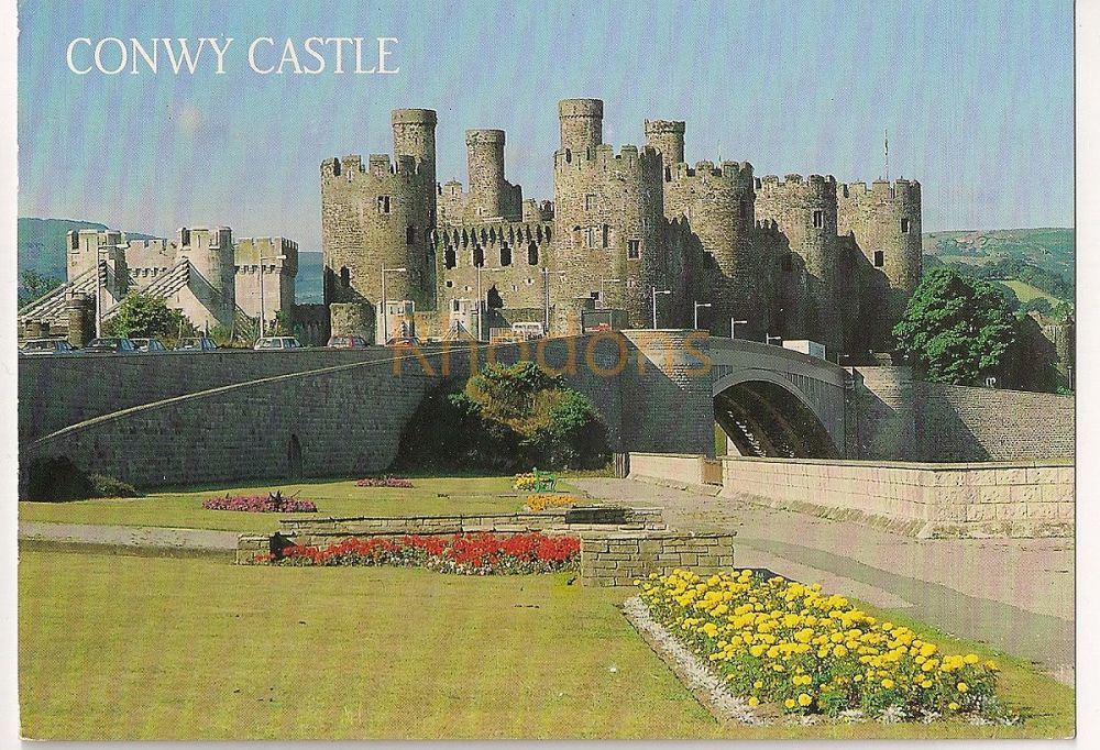 Wales: Conwy Castle and Bridge, Colour Photo Postcard