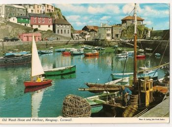 England: Cornwall. Old Watch House And Harbour, Mevagissy, Colour Photo Postcard